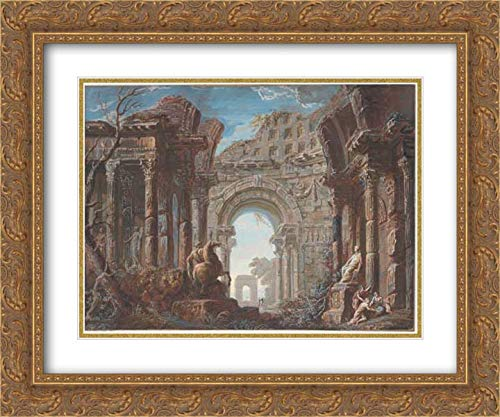 Jean Nicolas Servandoni - 36x28 Gold Ornate Frame and Double Matted Museum Art Print - Architectural Capriccio with a Monumental - Arch Monumental