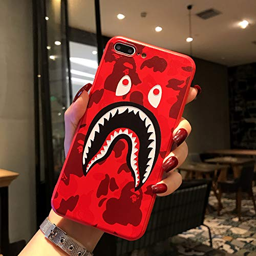 Kplvet iPhone 8 Plus 7 Plus Case,Non Slip Ultra Soft Embossed Craft Non Faded Durable Coloring Top Grip Feel Slim Thin 5.5 iPhone 7p 8p Case,Street Fashion Trend Protective Phone Cover (Red ShaYu)