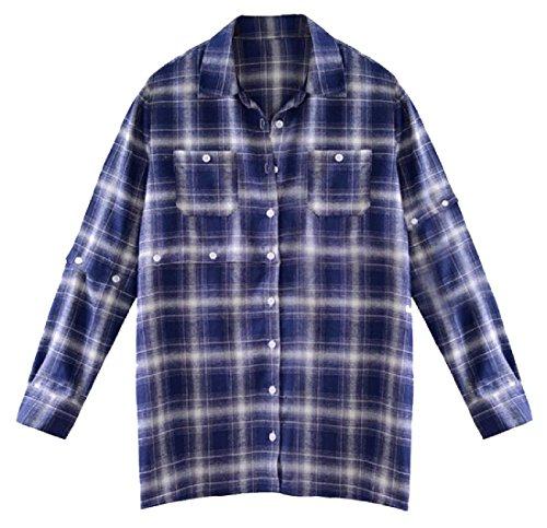 VITryst-Women Panelled Cotton Linen Hip Hop Juniors Blouse Shirt S