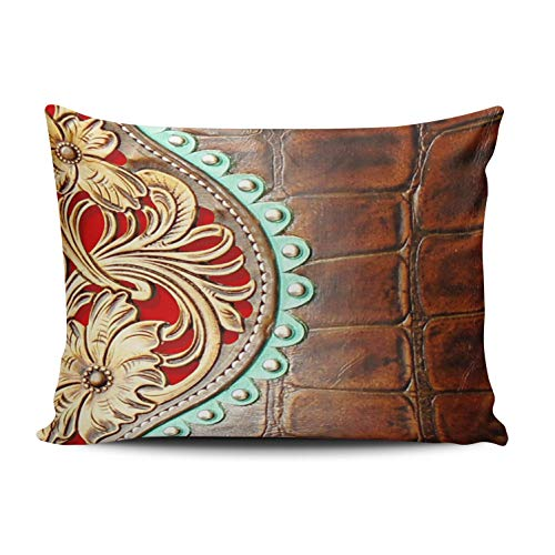 WEINIYA Home Decoration Design Pillow Case Brown and Gold Tooled Leather Western Style Print Throw Pillowcase Custom Cushion Cover 16X24 Inches One Sided Printed (Set of 1)