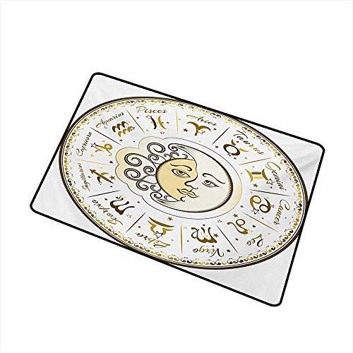 (Diycon Pet Door mat Zodiac Circular Zodiac Chart Apparent Position of Sun and Moon in Centre Pattern Print W20 xL31 Mildew Proof)