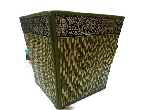 Thai Elephant Paper Bin Wicker Reed Waste Traditional Oriental Pattern Thailand (Green) (Wicker Walmart Hampers)