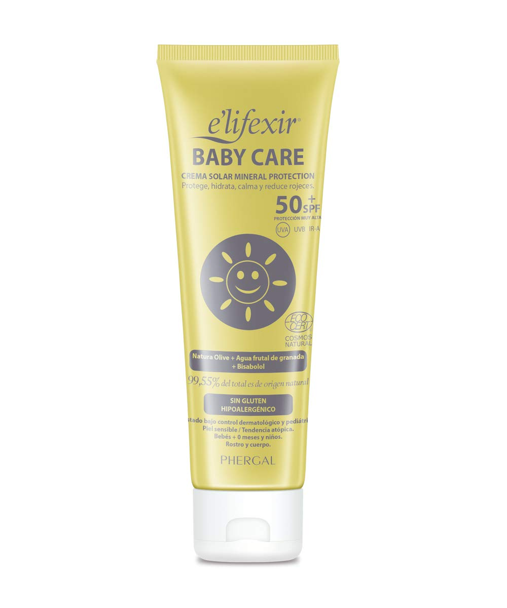 Elifexir Baby Care, Crema Solar UVA/UVB/IR-A Mineral Natural SPF+ 50, 100ml