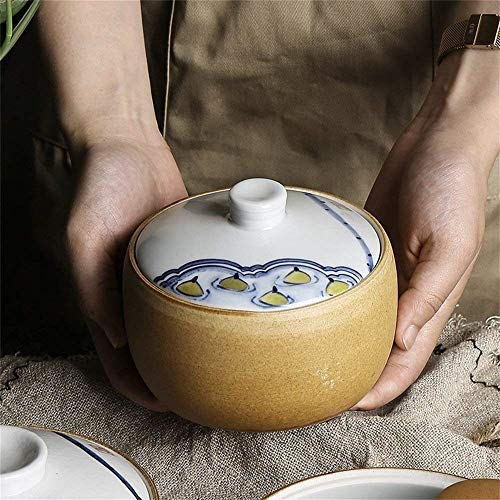 (XXJ-Bowls Japanese Style Hand-Painted Ceramic Retro Hand-painted Bowl Stewed Bird's Nest Dessert Steamed Egg Stew Soup Bowl With Lid Tureen)