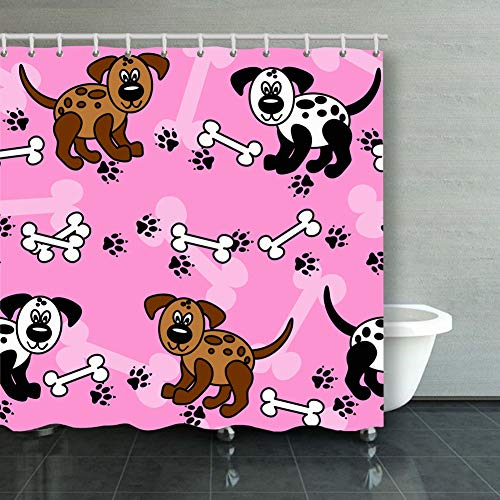 cute fun cartoon dogs paw prints animals wildlife pattern Animals Wildlife backgrounds textures pattern Backgrounds Textures Shower Curtain Polyester Fabric Bathroom Decor Sets with Hooks 60 x 72 Inch ()