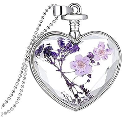 Susenstone Women Dry Flower Heart Glass Wishing Bottle Pendant Necklace hot sale