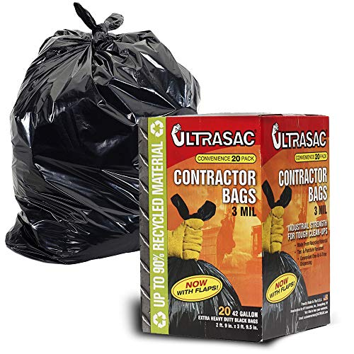 Contractor Bags by UltraSac - 42 Gallon (20 PACK /w FLAP TIES), 2.9in. x 3.95in. - 3 MIL Thick Large Black Heavy Duty Industrial Garbage Trashbags for Professional Construction and Commercial use