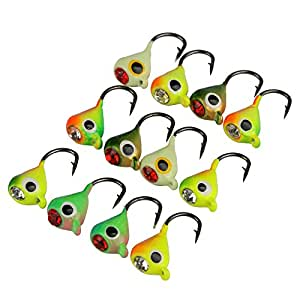 Goture Ice Fishing Jigs With Treble Hook Single Hook For Walleye Winter Fishing Lures Ice Jigging One Size 0.6in 0.035oz 12pcs with box