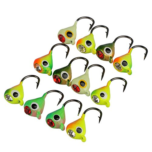 - Goture Ice Fishing Jigs with Treble Hook Single Hook for Walleye Winter Fishing Lures ice Jigging (0.6in 0.035oz 12pcs)