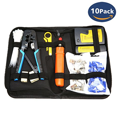 [UPGRADED] CloverTale Network Tool Repair Installation Kit, Ethernet POE LAN Cable Tester Computer Maintenance Coax Crimper Tool for RJ-45/11/12 Cat5/5e with Connector Accessories