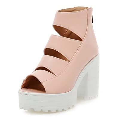 COOLCEPT Damen Mode Ankle Sandalen Open Toe Blockabsatzs Schuhe Mit Zipper