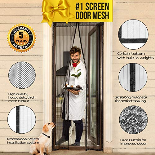 Magnetic Screen Door with Magnets I Premium Magnet Curtain with Mesh & Mosquito Screens I Bug Net for Doors [Upgraded 2019 Version] up to 39