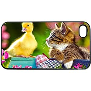 Cute Kitten Duck Apple iPhone 4 or 4S PLASTIC cell phone Case / Cover Great Gift Idea