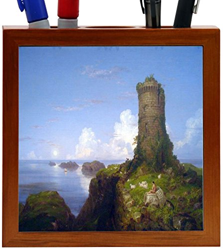 Rikki Knight Thomas Cold Art Italian Coast Scene with Ruined Tower Design 5-Inch Wooden Tile Pen Holder (RK-PH3309) (Tower Ruined)