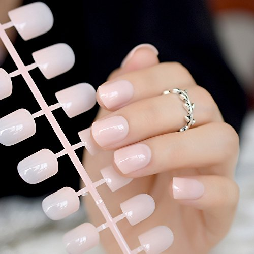 CoolNail Fashion Aquoval Short Nude Pink Nail Tips False Nails Candy Light Pink Artificial French Fake Nail Salon Decorated Full Cover