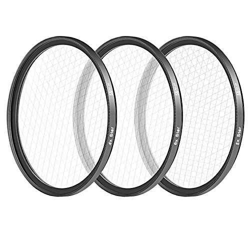 Neewer 58MM 3 Pieces Points Star Lens Filters Kit for Canon EOS Rebel T6i T6 T5i T5 T4i T3i SL1 DSLR Camera, Includes 4 / 6 / 8 Points Star Filter, Made of HD Glass and Aluminum Frame Materia (Black) by Neewer