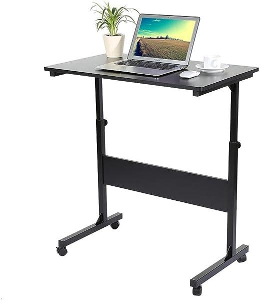 GOTOTOP Computer Desk Laptop Tavolo Vassoio,Tavolino per Computer Portatile//Notebook,Ufficio Computer Scaffale Ripiani Mobile Workstation,Regolabile,4 Rotelle Freno Nero