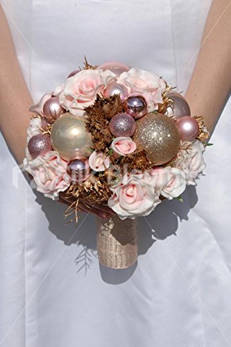Christmas Wedding Bouquets Uk.Pink Real Touch Rose Festive Christmas Bauble Wedding