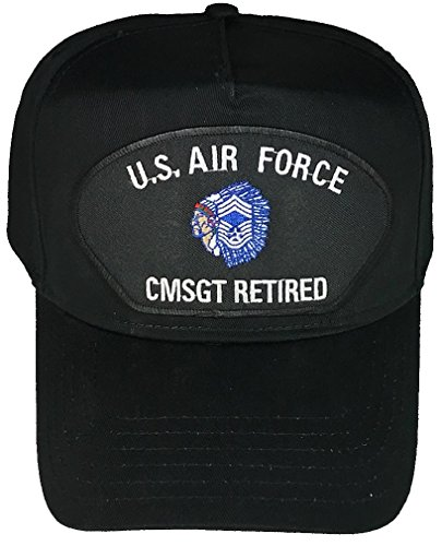 US Air Force Chief Master Sergeant CMSgt Retired With Insignia Patch Hat - Black - Veteran Owned Business