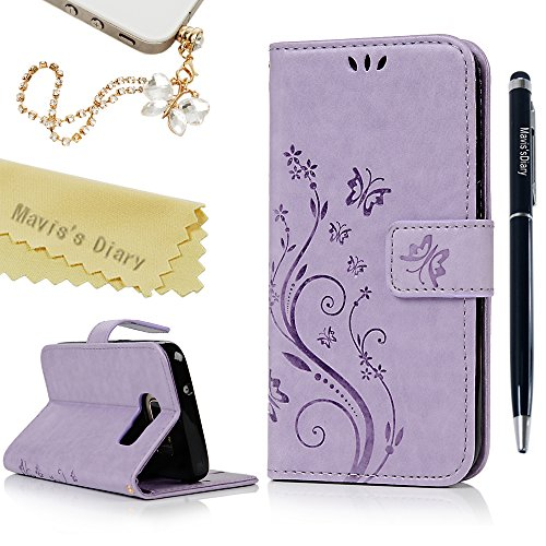 Galaxy S7 Case (Not for Edge),Mavis's Diary Embossed Wallet Fashion Floral Butterfly PU Leather Magnetic Flip Cover & Card Holders Hand Strap & Cute Dust Plug & Stylus for Samsung Galaxy S7 - Violet