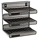 Rolodex - 2 Pack - Mesh Three-Tier Letter Size Desk Shelf 12 1/2 X 9 1/4 X 12 1/2 Black ''Product Category: Desk Accessories & Workspace Organizers/Platforms Stands & Shelves''