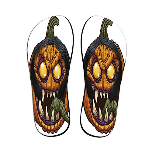 Halloween Modern Flip Flops,Scary Pumpkin Monster Evil Character with Fangs Aggressive Cartoon for Party & House & Other Events,US Size 8
