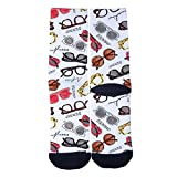 Ellaryo All kinds of glasses Socks Unisex Adult Print Crew Socks High-Performance Prints High Dress Socks Black