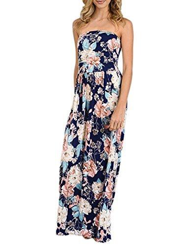 Silk Dress Empire - Liebeye Women Wrap Chest Casual Floral Dress Empire Waist Strapless Sleeveless Maxi Dress Long Skirt for Party Summer Beach Sapphire L