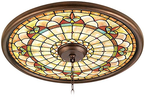 Tiffany Tracery 24' Wide Bronze Finish Ceiling Medallion