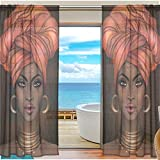 African American Woman Window Sheer Curtains Digital Printed Polyester Fiber Drapes for Door Kitchen Living Room Bedroom