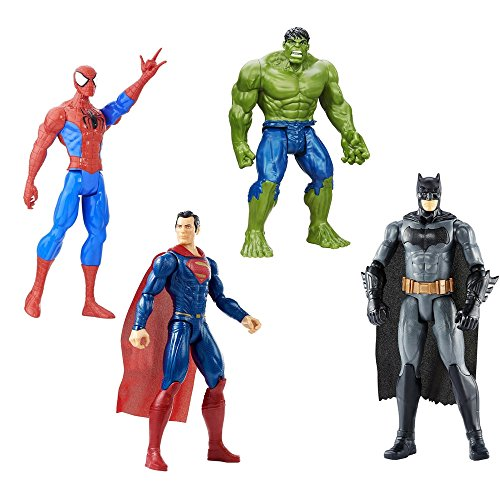 4 LOT Bundle Marvel Batman v Superman, Hulk and Marvel Spider-Man Titan Hero 12 inch. Figure