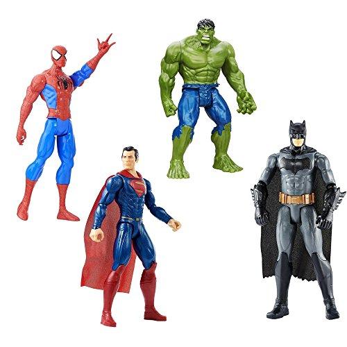 4 LOT Bundle Marvel Batman v Superman, Hulk and Marvel Spider-Man Titan Hero 12 inch. Figure