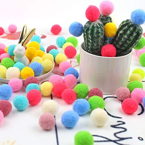 DomeStar Pom Poms, 300 PCS 1 Inch Pompom Balls Colorful Pom Pom Balls Puff Balls Craft Pompoms for DIY Creative Crafts Decorations