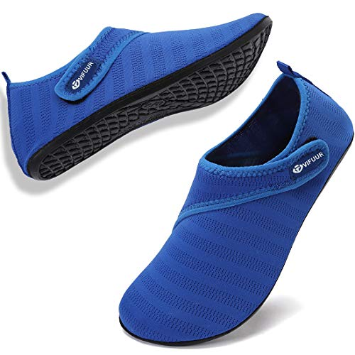 VIFUUR Mens Womens Water Socks Quick Dry Barefoot Beach Pool Swim Diving Surf Aqua Shoes Blue Strap 38/39