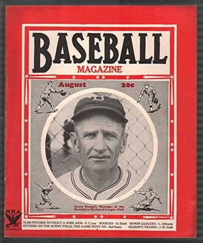 Baseball Magazine 8/1934-Casey Stengel-Jimmie Foxx-Walter Johnson-MLB-pix-FN