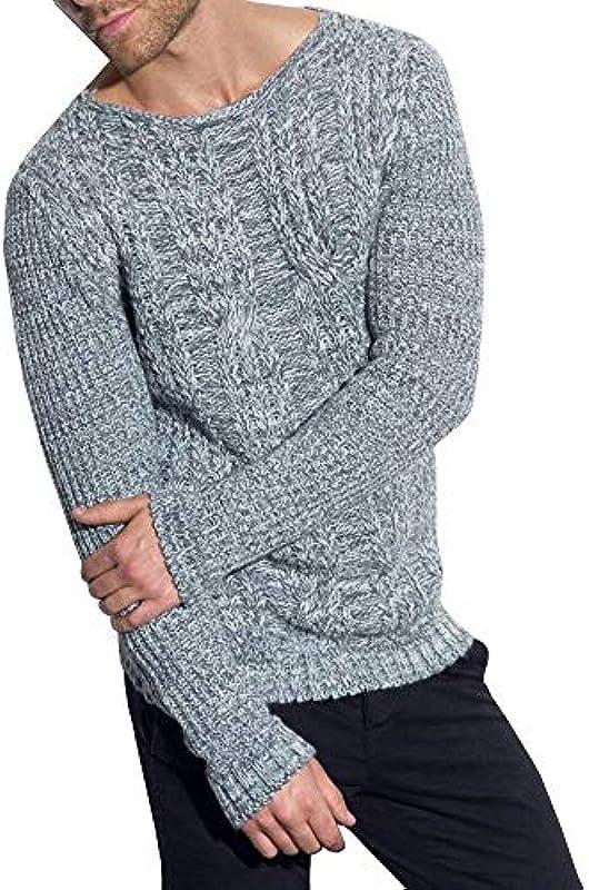Męski rozciągliwy Solid sweter dziany O Fashion Fit Neck Slim długi rękaw swobodny kremowy sweter dziany wiosna jesień długi rękaw sweter dziergany: Odzież