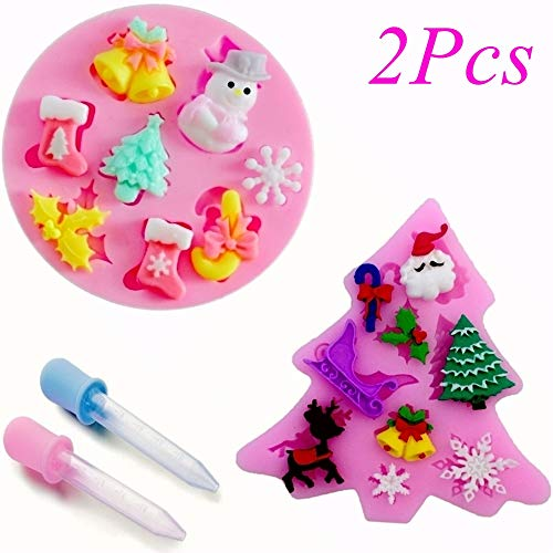 Merry Christmas Fondant Silicone Sugar Mold Cake Decorating - Snowflake Trees Stockings Bells & Bows – Santa Claus Mold, Pink, Set of Two with 2 Dropper