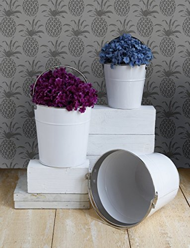 Set of 3 Metal Planters Flower Pots Containers Decorative for Home Indoor Outdoor Garden Accessories (White)