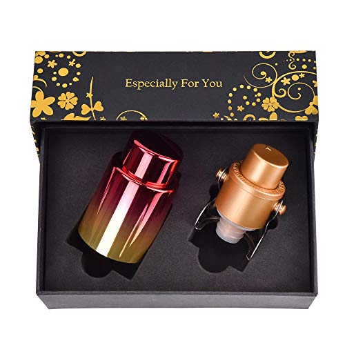 - Gold Vacuum Champagne & Wine Stopper Set | Bottle Sealer for Wine, Cava, Prosecco, Sparkling Wine and Champagne with a Built-In Vacuum Sealer| Perfect Gift for Friends and Co-Workers.