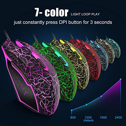 VGUARD Ratón Gaming con Cable, 4 dpi Adjustables hasta 2400, Gaming Mouse Óptico, Ratón Ergonómico Óptico RGB con 6…