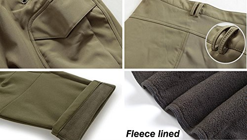 TACVASEN Men's Water Resistant Softshell Warm Fleece Trousers Skiing Hiking Winter Lined Trousers