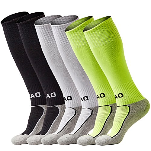 Boys/Girls Outfits Compression Long Sport Knee High Football & Soccer Socks Pack (Kids/Youth Gifts) 3 Pair (Youth Nylon Pro Football Sock)