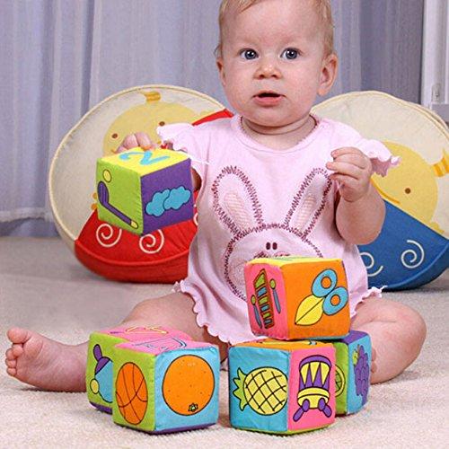 Children's Match Soft Cloth Rattle Build Blocks Animal Number Baby Knock Development Toy Cube Set ()