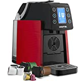 Gourmia GCM5100 One Touch Multi Capsule Coffee Machine, Compatible with Nespresso and K-Cup Pods, Adjustable Temperature & Cup Size, Digital Display, Demi Shot-Glass Tray - Red