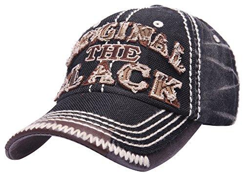 MINAKOLIFE Mens Distressed Vintage Denim Dry Baseball Leather Snapback Trucker Hat Black