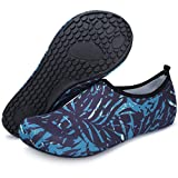 Barerun Women Men Durable Sole Barefoot Water Skin Shoes Aqua Socks for Beach Pool Sand Swim Surf Yoga Water Aerobics Blue 8.5-9.5 US Women 7-7.5 US Men