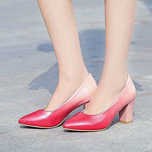 MissSaSa Damen geschlossen Chunky heel Pointed Toe Pumps mit Blockabsatz Pink