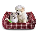 Fluffy Paws Pet Bed Crate Pad Premium Bedding w/Inner Cushion for Dog/Cat [Classic Series], Oak Red Plaid Bed - 22