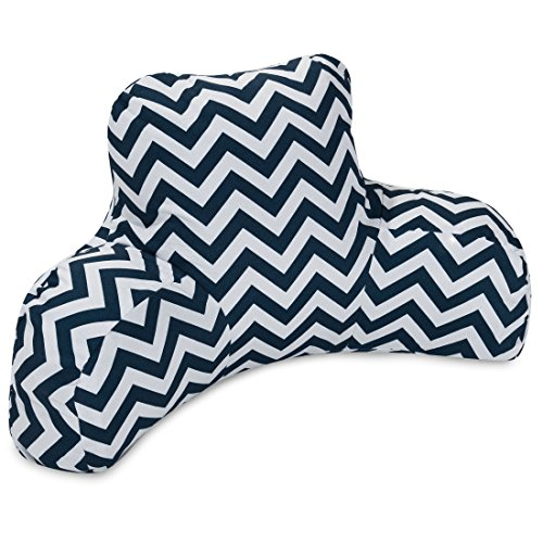 Majestic Home Goods Chevron Reading Pillow, Navy (Chevron Walmart Bedding)