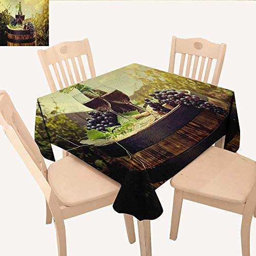 longbuyer Wine Printed Tablecloth Scenic Tuscany Landscape with Barrel Couple of Glasses and Ripe Grapes Growth Waterproof Table Cloth Green Black Brown W 70